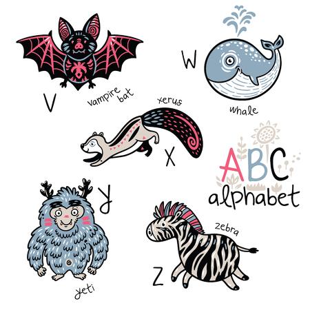 Animals alphabet V - Z for children Illustration