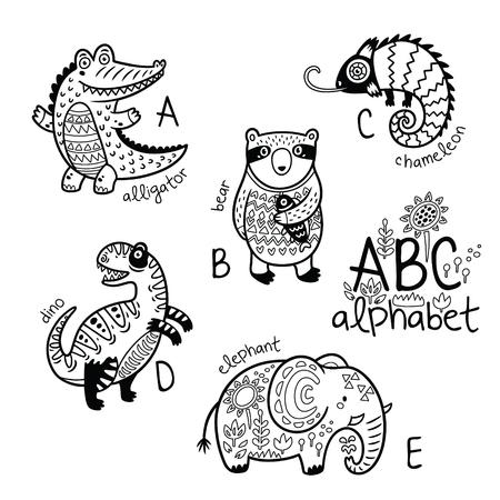 아이들을위한 동물 알파벳 A - E. 벡터 색칠 공부 페이지 일러스트