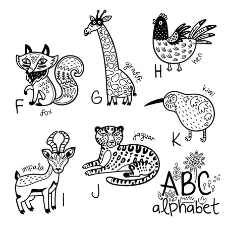 Animals alphabet F - K for children. Vector coloring page