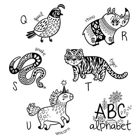 아이들을위한 동물 알파벳 Q - U 벡터 색칠 공부 페이지