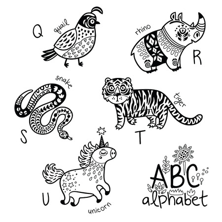 Animals alphabet Q - U for children Vector coloring page Ilustração
