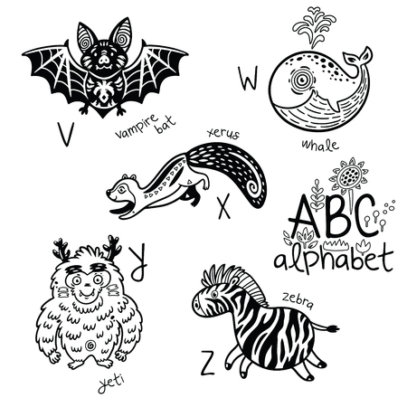 Zoo alphabet with cartoon animals in outline.