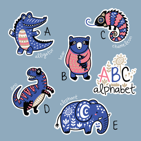 Set of cute patch badges with animals alphabet A - E