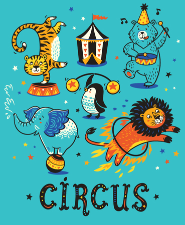 Cartoon circus animals. Vector illustration