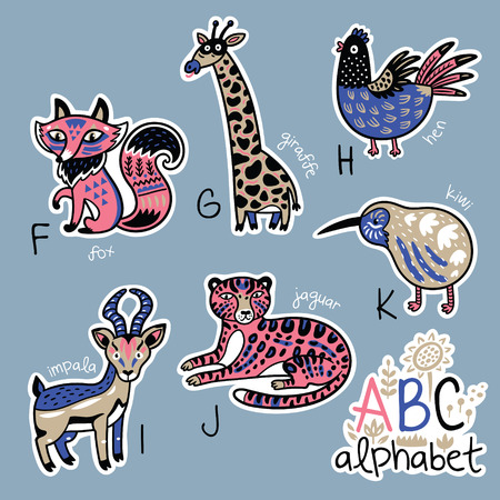 Set of cute patch badges with animals alphabet F - K Illusztráció