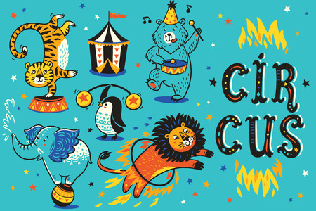 Cartoon circus animals. Vector illustration