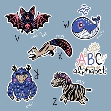 Set of cute patch badges with animals alphabet V - Z Illustration