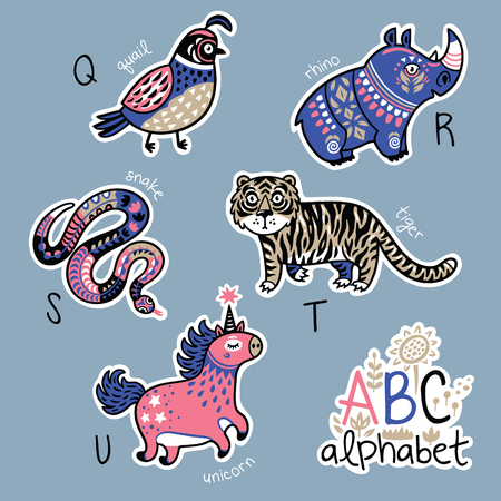 english letters: Set of cute patch badges with animals alphabet Q - U