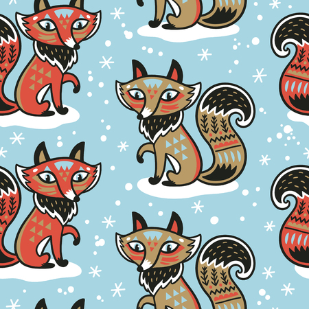 Cute pattern vector illustration with fox and ornaments Ilustração