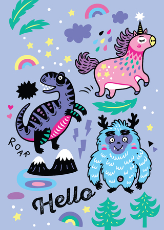 Adorable wallpaper in the childish style with unicorn vector illustration. Ilustração