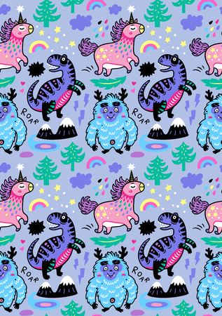 Adorable wallpaper in the childish style with unicorn vector illustration. Иллюстрация
