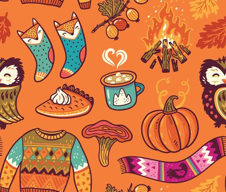 カボチャ、フクロウ、プルオーバー、たき火や他のシームレスな秋背景  イラスト・ベクター素材