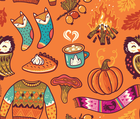 Seamless autumn background with pumpkin, owl, pullover, bonfire and other