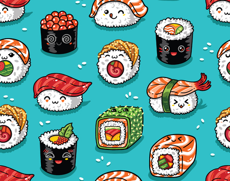 Sushi and sashimi seamless pattern in kawaii style. Vector illustration