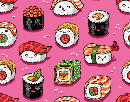 Sushi en sashimi naadloos patroon in kawaii stijl. Vector illustratie