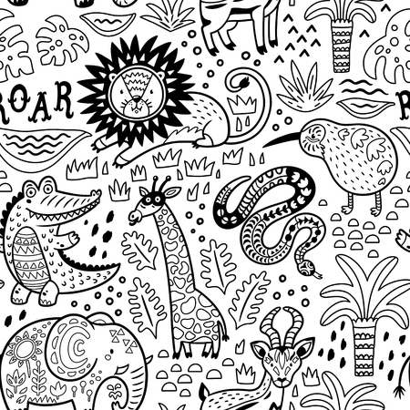 Fashion safari seamless pattern with jungle animals in outline