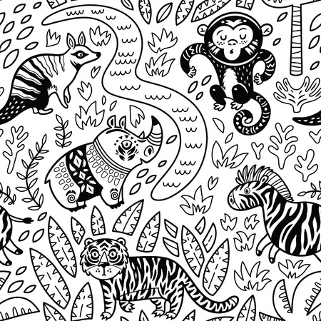 Vector seamless tropical pattern with decorative animal characters in outline Illustration