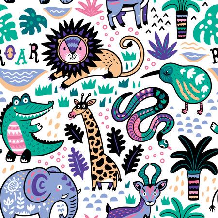 Fashion safari seamless pattern with jungle animals in vector