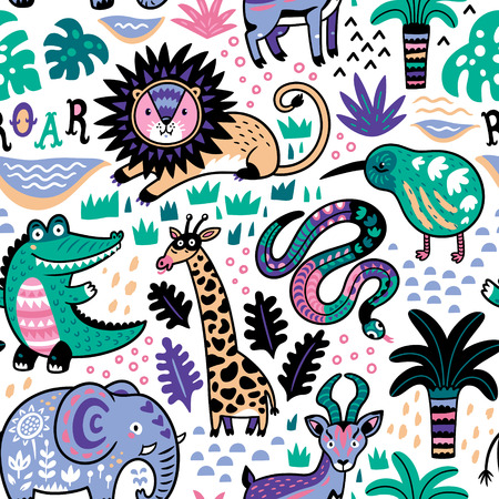 Fashion safari seamless pattern with jungle animals in vector