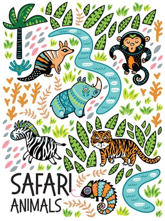 Safari animals print, Vector illustration