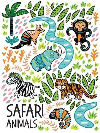 Safari dieren print, Vector illustratie