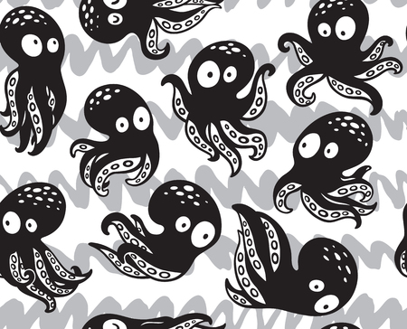 Seamless octopuses pattern in monochrome colors