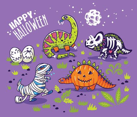 Dinosaurs in costumes for Halloween. Vector set of characters Stock Photo