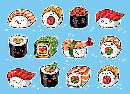 Kawaii rolls and sushi manga cartoon set. Vector illustration Фото со стока