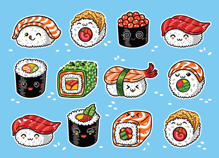Kawaii rolls and sushi manga cartoon set. Vector illustration Stock Photo