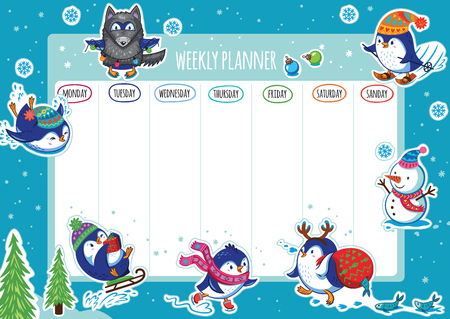 Weekly planner with winter penguins cartoon design. Vector illustration