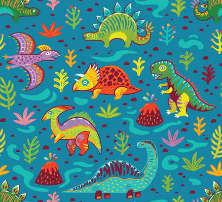 Cute cartoon dinosaurs endless background.