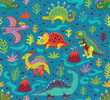 Cute cartoon dinosaurs endless background.
