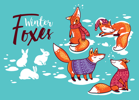 Collection of cartoon foxes in cozy sweaters. Vector illustration 向量圖像