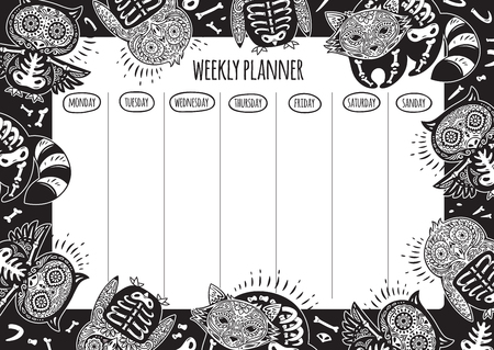Weekly planner with tattoo design in outline. Vector illustration