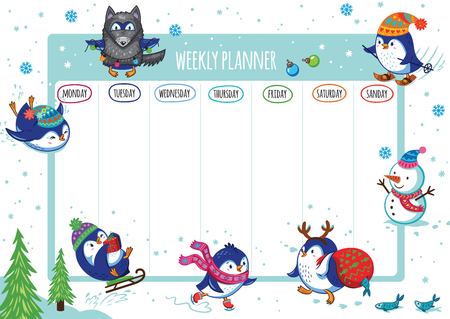 Weekly planner with winter penguins cartoon design. Vector illustration