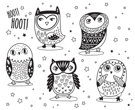 Set of cute cartoon owls with ethnic ornament in outline