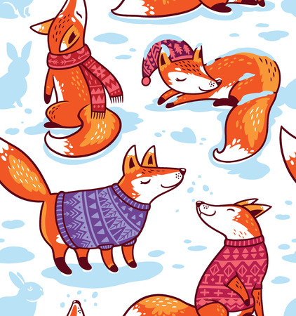 Snowy seamless pattern with cartoon foxes in cozy sweaters. Vettoriali