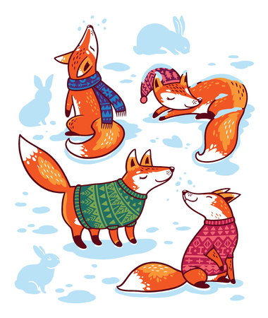 Snowy seamless pattern with cartoon foxes in cozy sweaters. 向量圖像