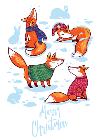 Merry Christmas cute greeting card with cartoon foxes in sweaters