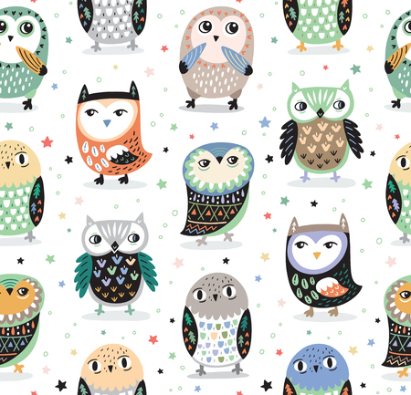 Vector seamless pattern with cartoon owls. Nursery decor