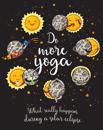 Moon is doing yoga. Solar eclipse cartoon characters Illustration
