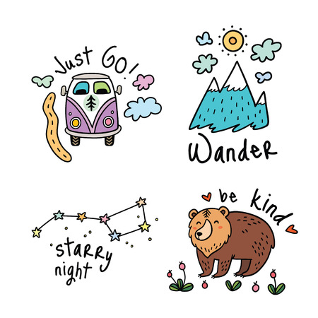 Fun travel emblems, icon or badges for big adventures. Isolated vector illustrations for camping and outdoors. Set with mountain, grizzly, stars and van.