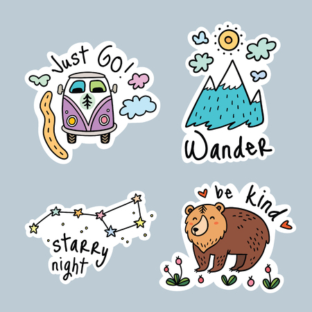 Fun travel stickers and patches for big adventures. Isolated vector illustrations for camping and outdoors. Set with mountain, grizzly, stars and van.