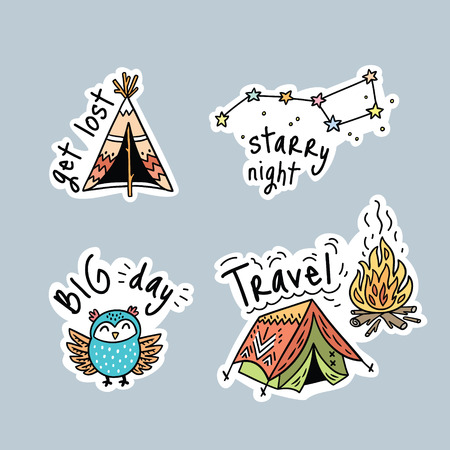 Fun travel stickers and patches for big adventures. Isolated vector illustrations for camping and outdoors. Set with owl, tent and stars.