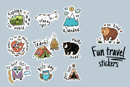 Fun travel stickers and patches for big adventures. Isolated vector illustrations for camping and outdoors.