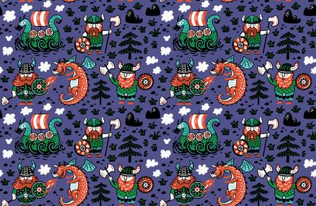 Naadloos patroon met Vikingen, draak en schip in beeldverhaalstijl. Grappige vectorillustratie voor kinderen