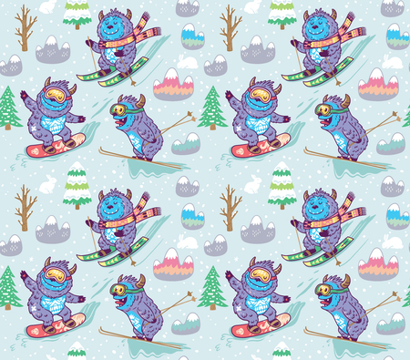 Seamless pattern of yetis snowboarding and skiing in the mountain. Cute hand drawn vector illustration in cartoon style.