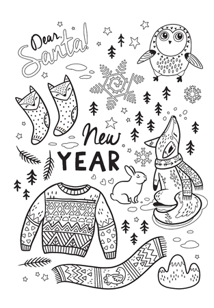 dear santa new year card with winter elements and text in outline lovely