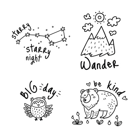 Fun travel stickers and patches for big adventures in ink style. Set with mountain, owl, grizzly and stars. Ideal for coloring print