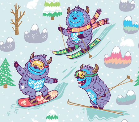 Seamless pattern with fun yeti snowboarding and skiing in the mountain. Cute hand drawn vector illustration in cartoon style.